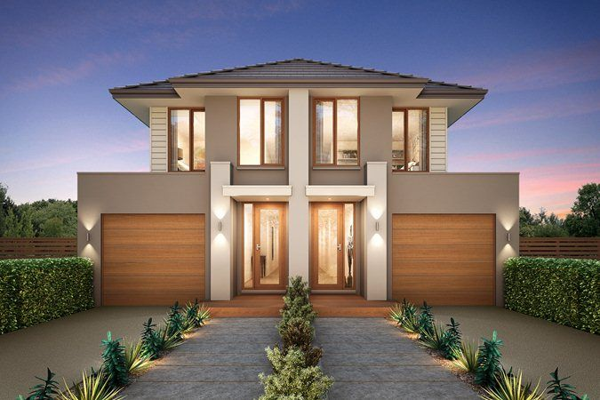 Large Pavers With Shrubs Classic Metricon Duplex House Designtownhouse Designsnew