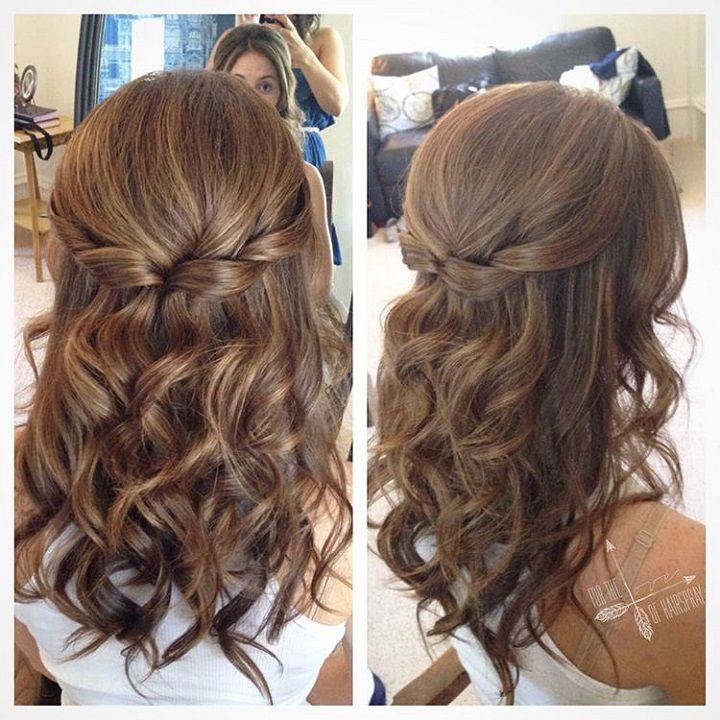 Pretty Half Up Half Down Hairstyle For Curly Hair Partial Updo Wedding Hairstyles Hair Styles Curled Prom Hair Hair Lengths