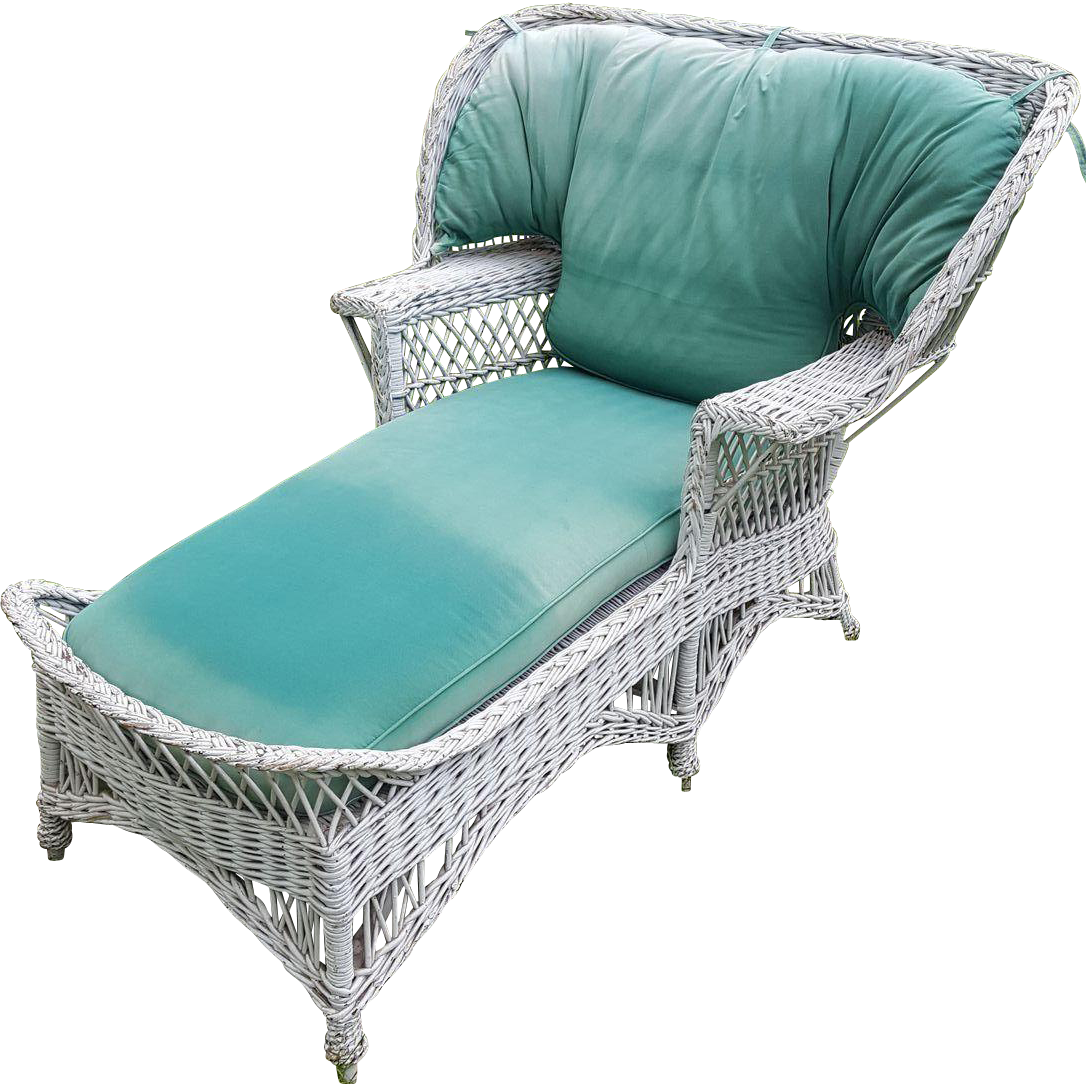 Very Rare Vintage Bar Harbor Wicker Wing Back Chaise