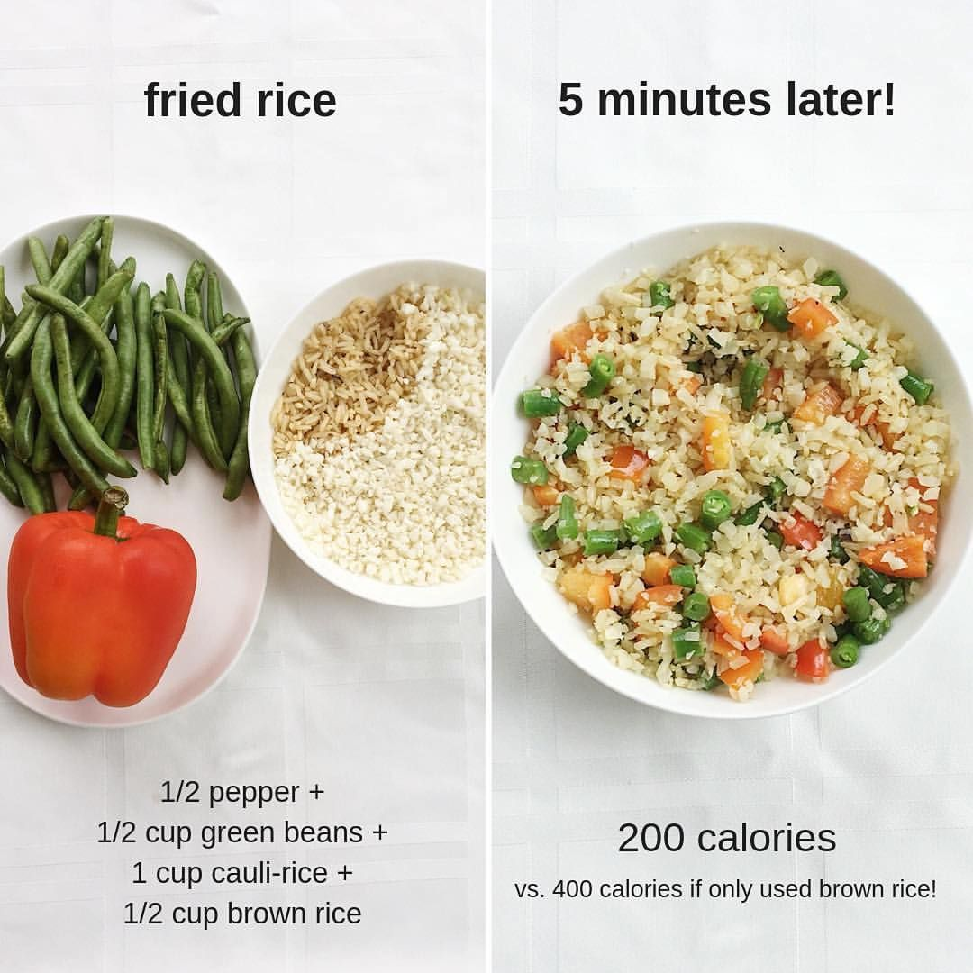 Fried Rice Made With A Mixture Of Cauliflower Rice Regular Brown Rice Easiest Recipe Below Still Get The Taste O Healthy Healthy Recipes Food
