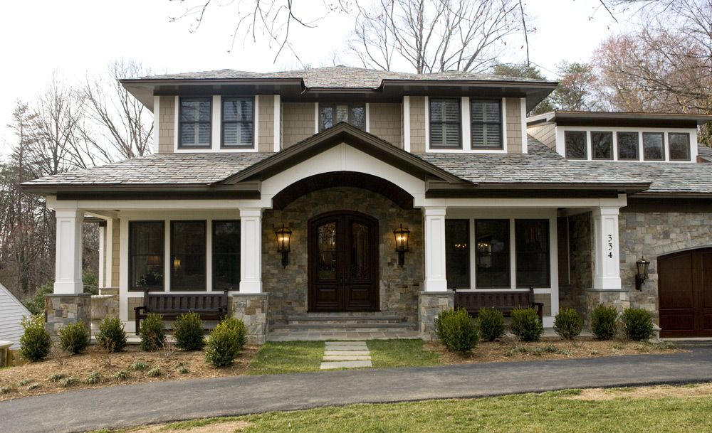 My favorite home style bungalow craftsman i love the stone entry way the beautiful wood - Craftsman bungalow home exterior ...