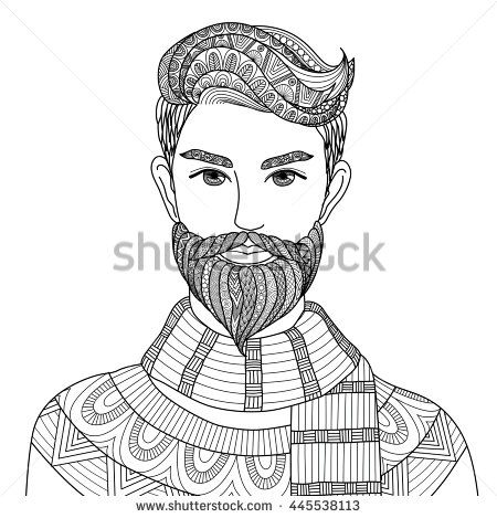 Adult And Barber Beard Black Book Coloring Doodle Face
