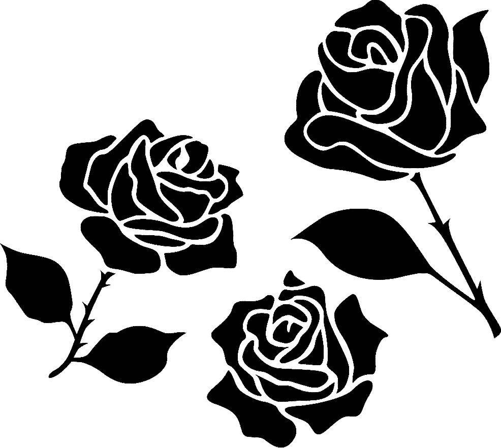 Guzel Bir Gul Deseni Rose Stencil Wood Painting Hand Made
