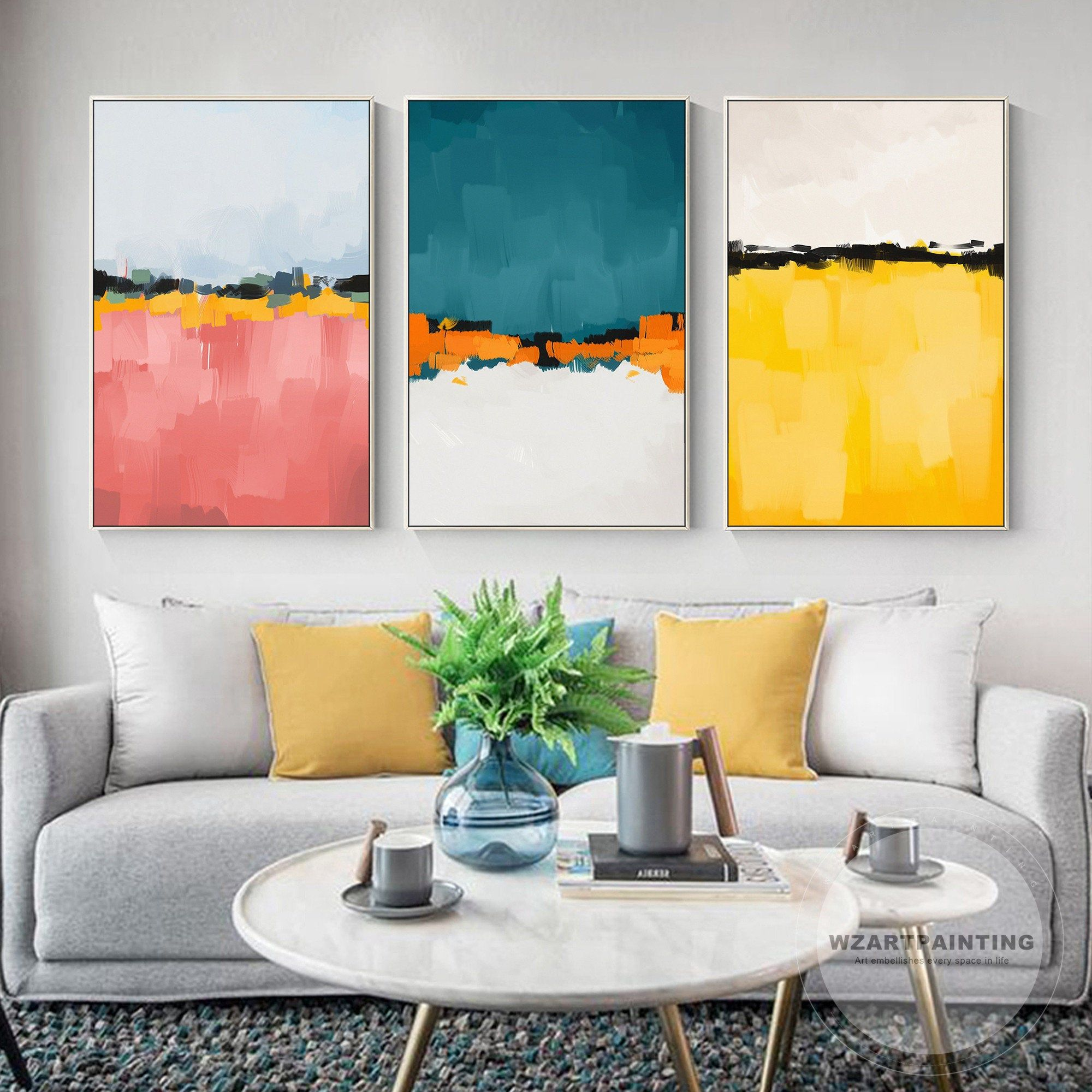 Set Of 3 Prints Framed Wall Art Abstract Pink Mustard Yellow Print Painting Large Wall Art Pictures On Abstract Art Painting 3 Piece Wall Art Wall Art Pictures