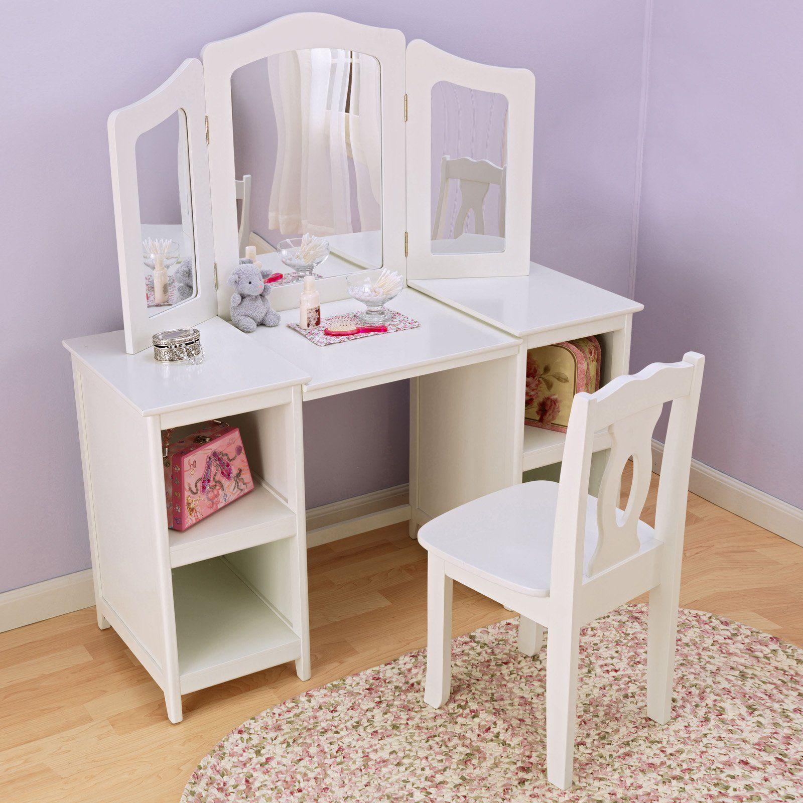 Little girls play vanity table vanity tables vanities and plays kidkraft deluxe vanity chair 13018 perfect for any girls room the kidkraft geotapseo Images