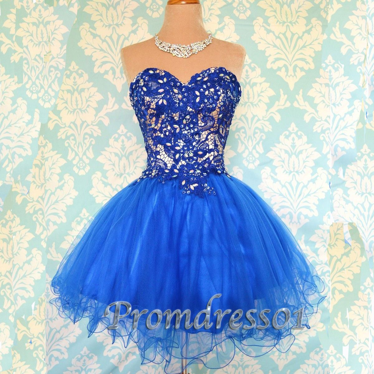 royal tutu look blue sweetheart short slim prom dress for
