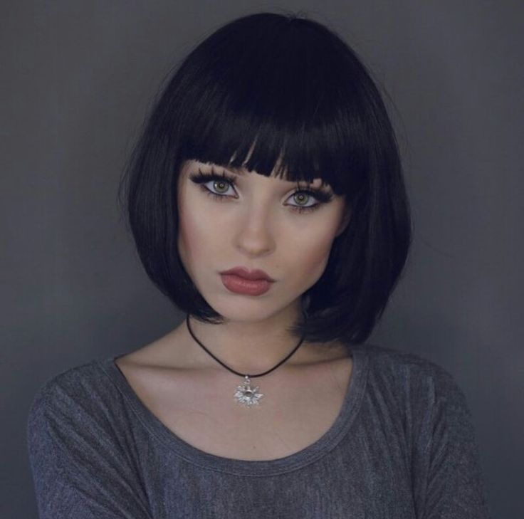Short Black Hairstyles With Bangs Black Bob With Fringevery Nice …  Hairstyl…