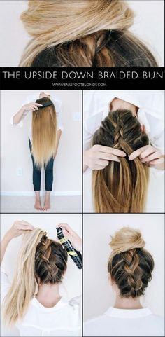 best 5 minute hairstyles  upside down braided bun for