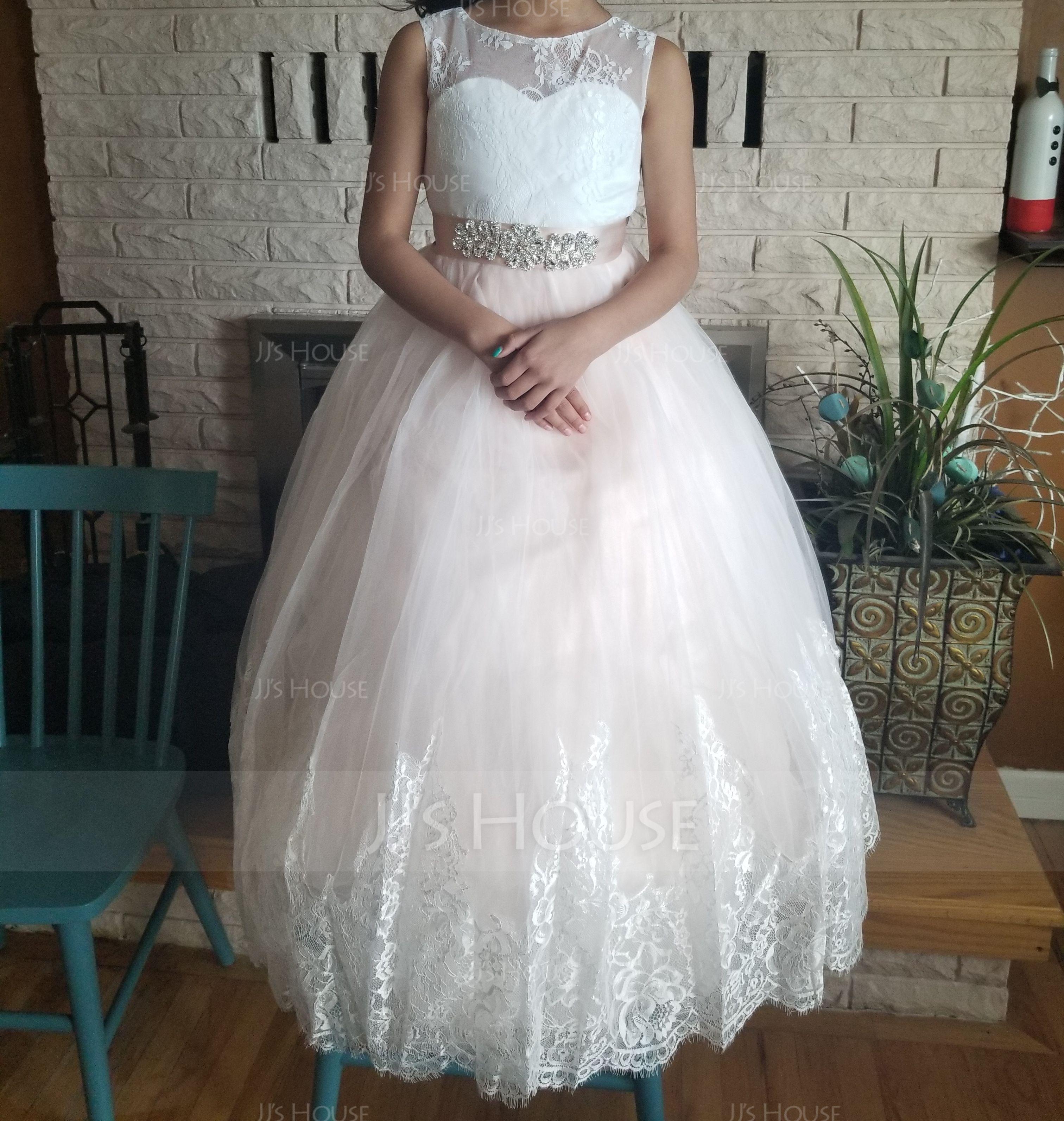 346e9d05db Ball-Gown Princess Floor-length Flower Girl Dress - Satin Tulle Lace ...
