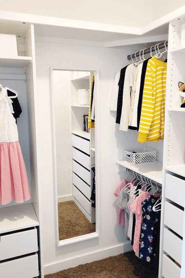 Small Walk In Closet Makeover Using Ikea Pax Closet Makeover Organizing Walk In Closet Kids Closet Organization
