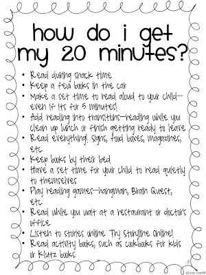 GREAT downloadable .pdf to give parents. Lots of fun ways to get 20 minutes of reading/night!!