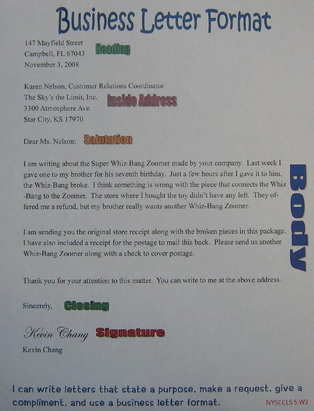Business Letter Anchor Chart  Th Grade Sra Imagine It