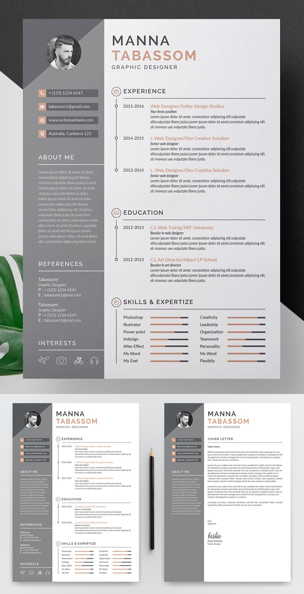 23 Creative Resume Templates With Cover Letters Design Graphic Design Junction Creative Resume Clean Resume Template Creative Resume Templates