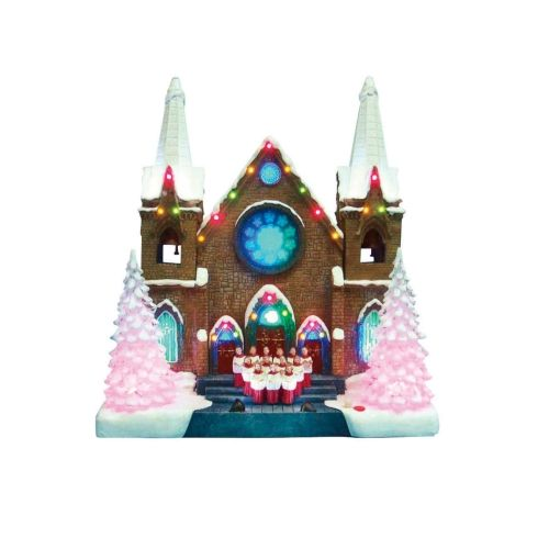 "12"" ""Silent Night"" Christmas Church With LED Lights ($38"
