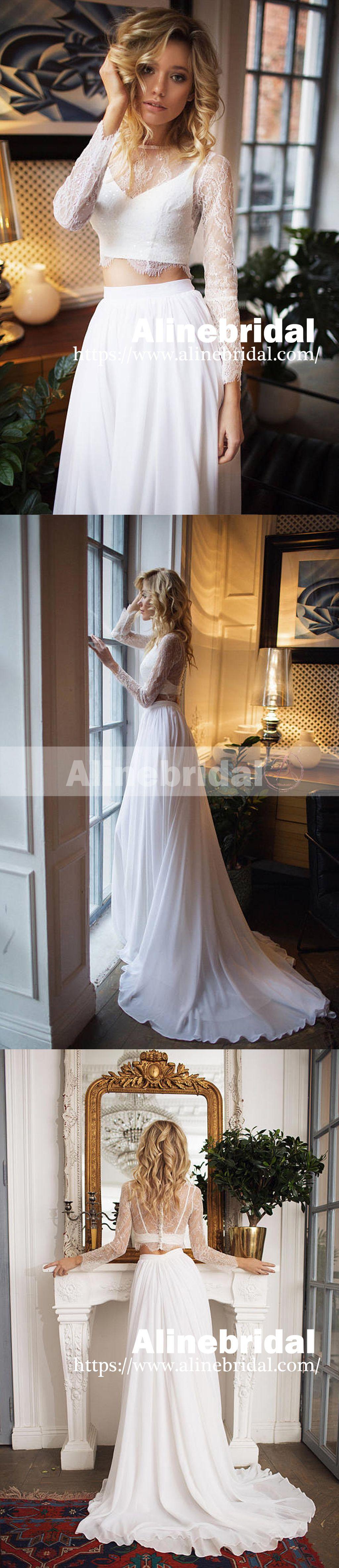 Best beach wedding dresses  Fashion Two Piece Long Sleeves Lace Top Chiffon Beach Wedding