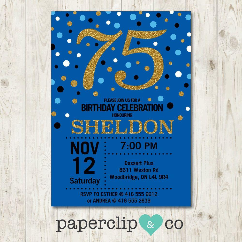 Milestone Birthday Invitation, 75th Birthday Party