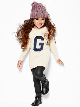 gap little girls oversized varsity sweater dress waxed