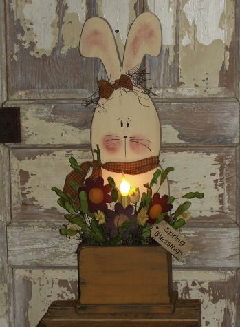 Daisy Bunny Box with Light and Florals | Home decor ...