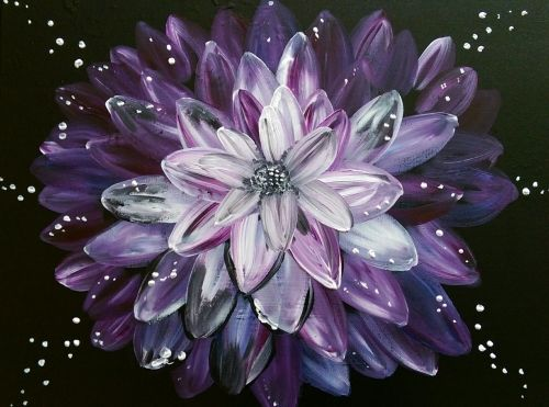 Sparkling Purple Lotus at Vanessa's Corner Pub - Paint Nite Events near Westminster, MD>