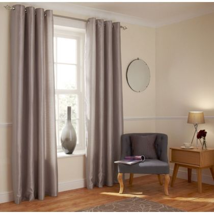 Home Of Style Faux Silk Mink Curtains 90x90in At Homebase