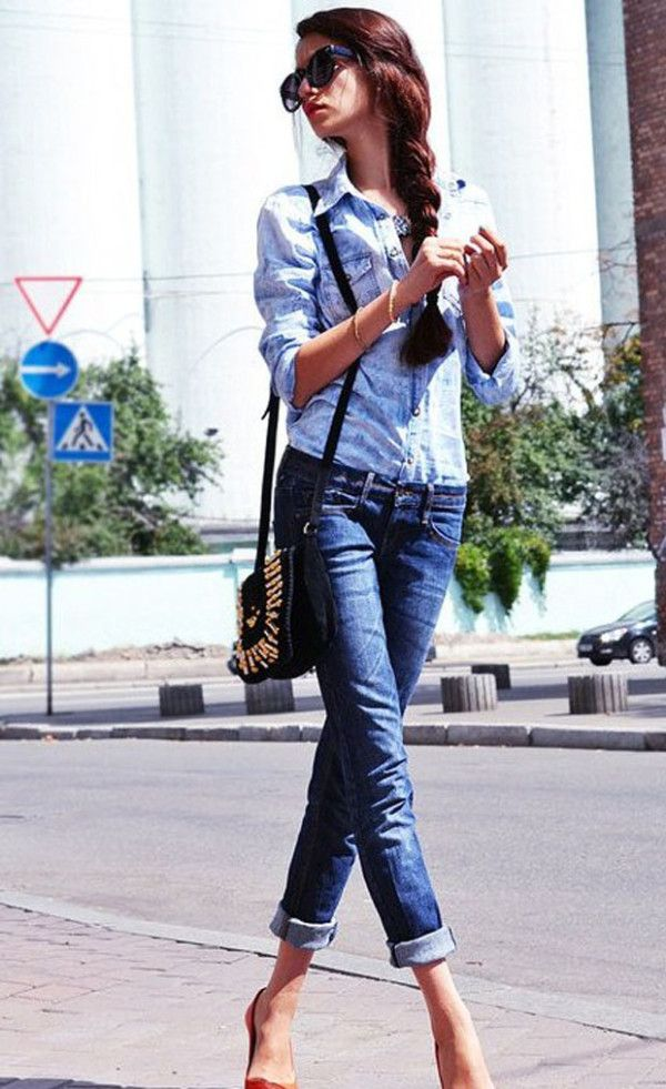 41 Women's Denim Shirt | Fashion | Pinterest | Dark denim, Classic ...