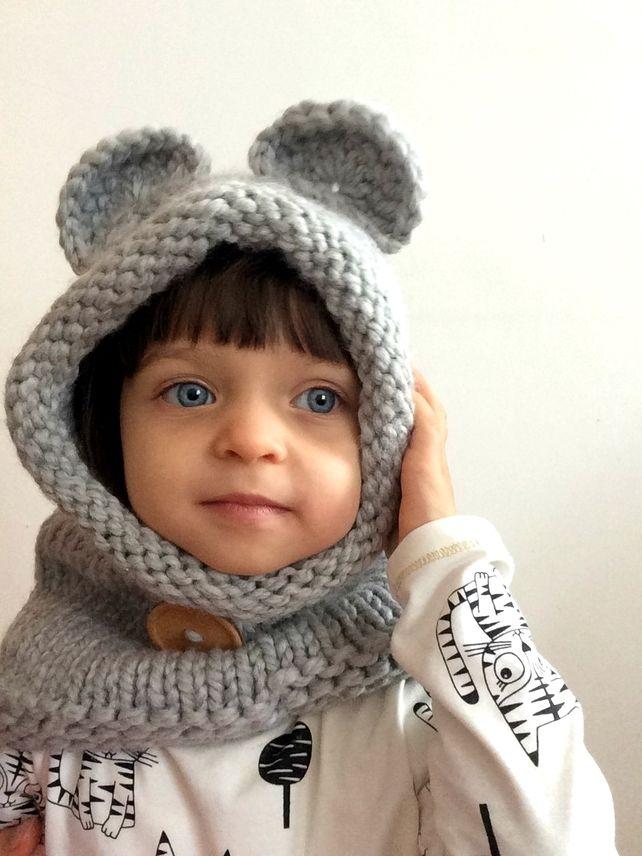 Light Grey Wool Bear Ears Snood Hooded Cowl Hat Hood Neck Warmer ...