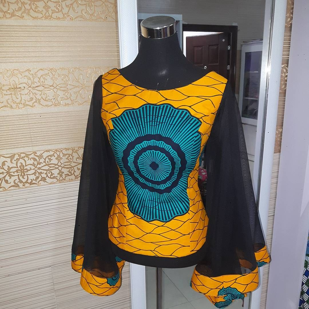 """64 Likes, 3 Comments - BHS-Signatures (@bhs.signatures) on Instagram: """"Fitted Ankara Blouse with full bell sleeves """""""