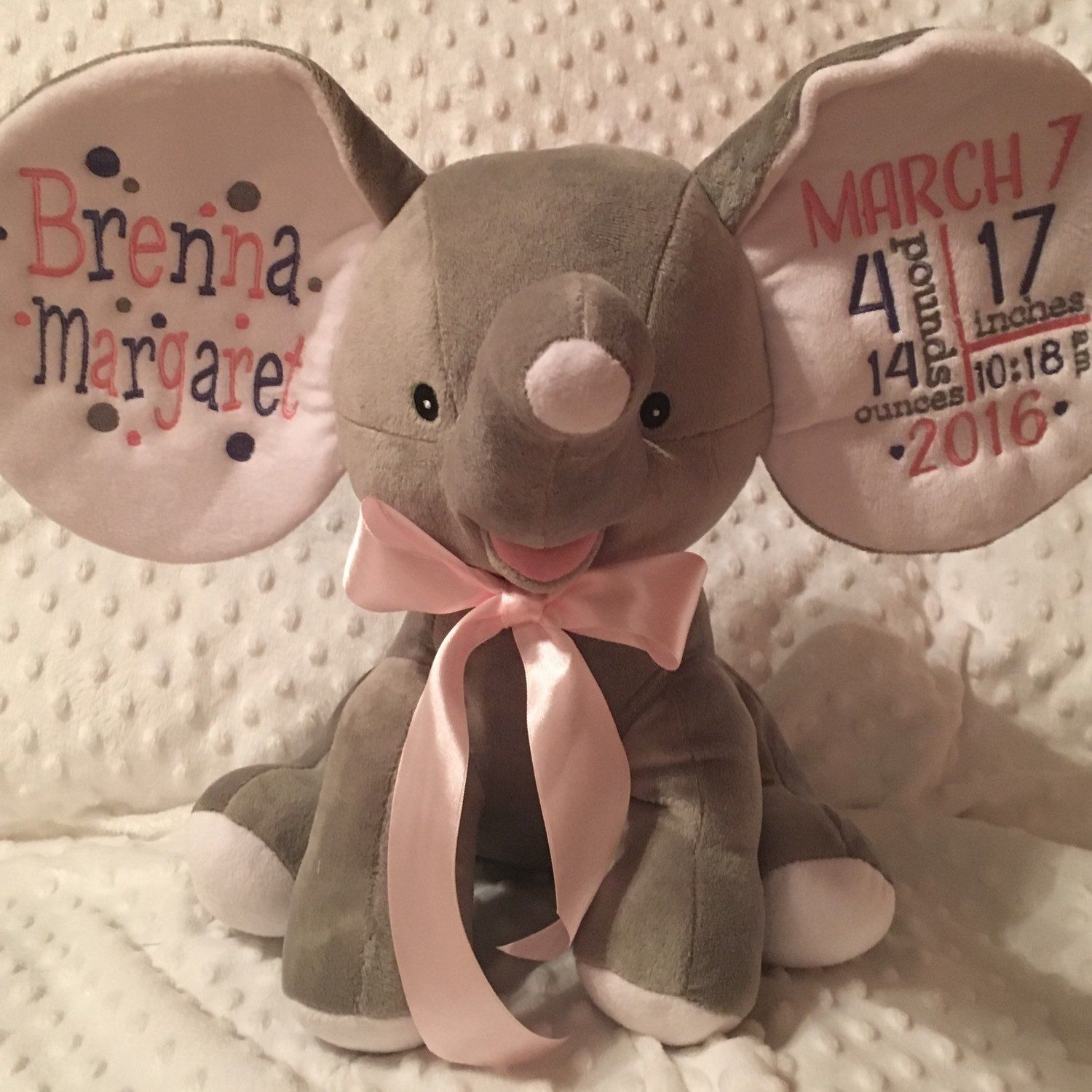 Personalized baby gift elephant big ears gray birth announcement gigiskidscreations shared a new photo on etsy baby accessoriesbaby elephantspersonalized negle Images