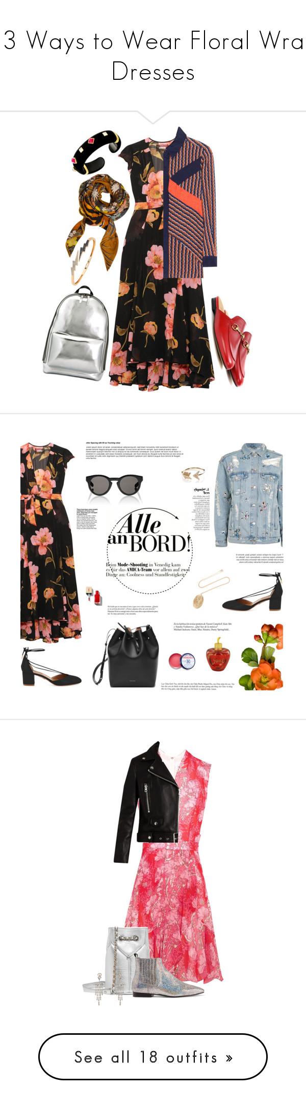 """13 Ways to Wear Floral Wrap Dresses"" by polyvore-editorial ❤ liked on Polyvore featuring waystowear, floralwrapdresses, Reformation, Margot McKinney, Gucci, 3.1 Phillip Lim, Diane Von Furstenberg, Hermès, Bee Goddess and Topshop"