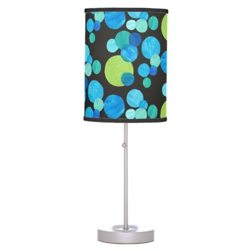 Modern Table Lamp: Blue, Green, Turquoise on Black - $47.95 (also fits pendant lampshade) - http://www.zazzle.com/modern_table_lamp_blue_green_turquoise_on_black-256799467033793051?rf=238041988035411422