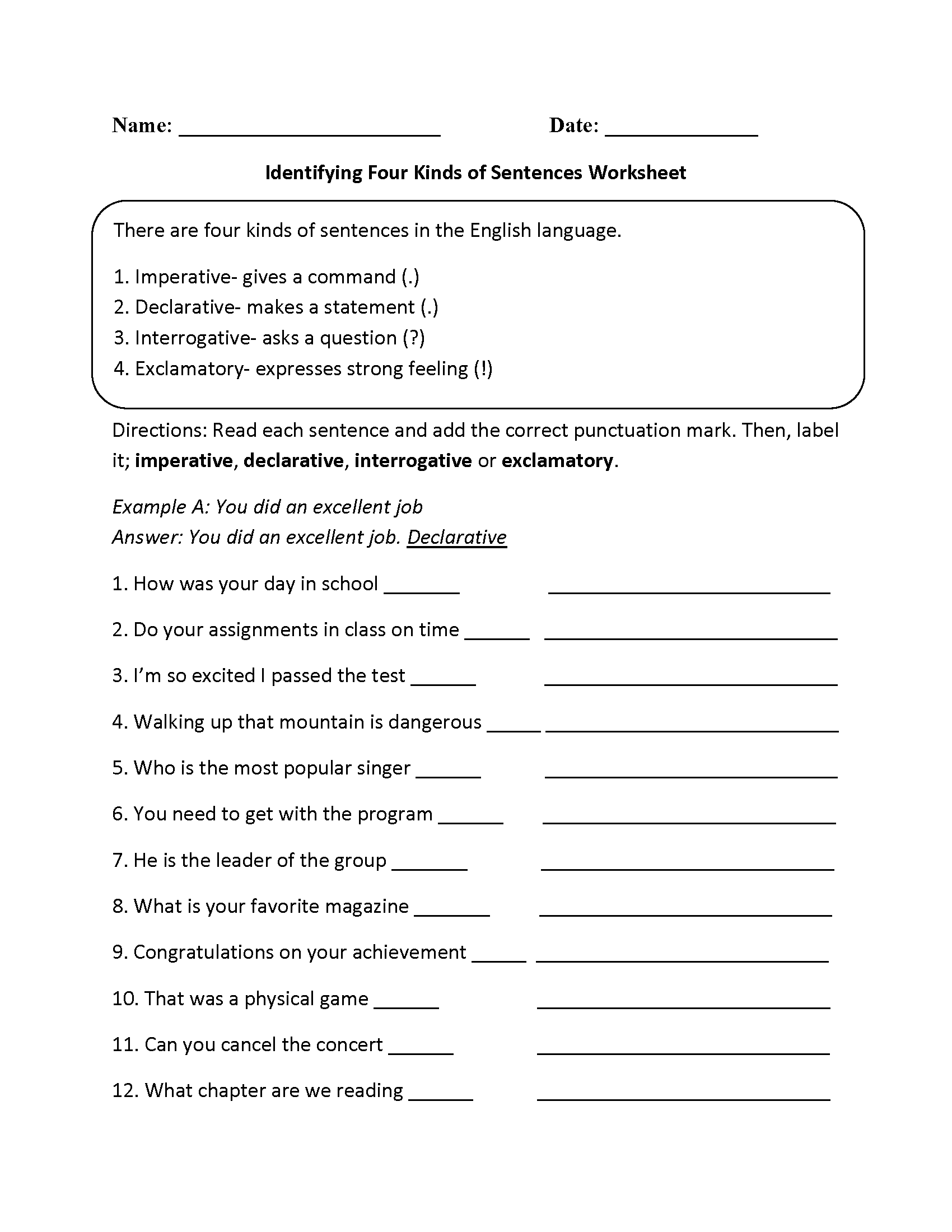 Worksheets Four Types Of Sentences Worksheet practicing four kinds of sentences worksheet language arts worksheet