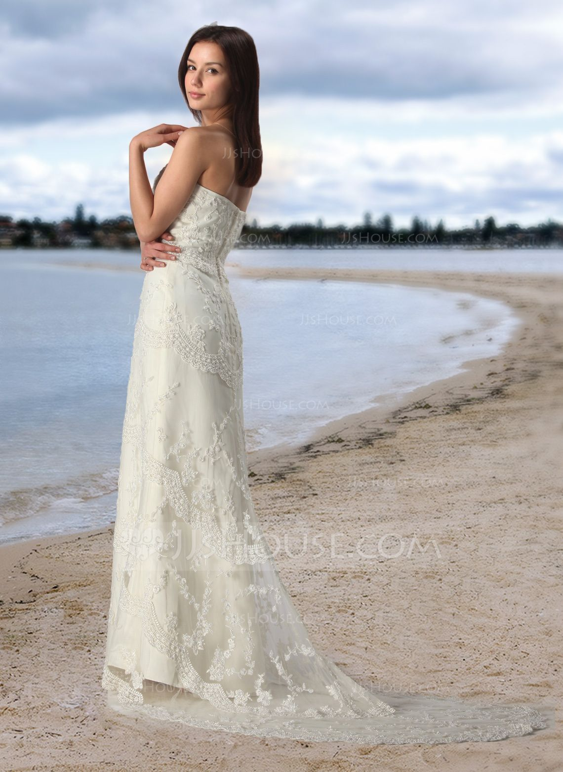 Sheath Column Strapless Court Train Satin Tulle Wedding Dress With