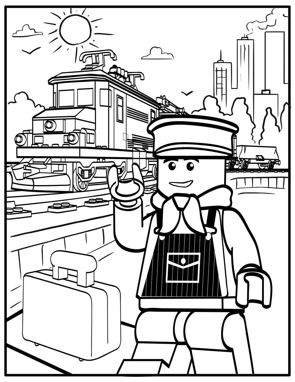 Lego Inspired Printable Coloring Pages Train Coloring Pages