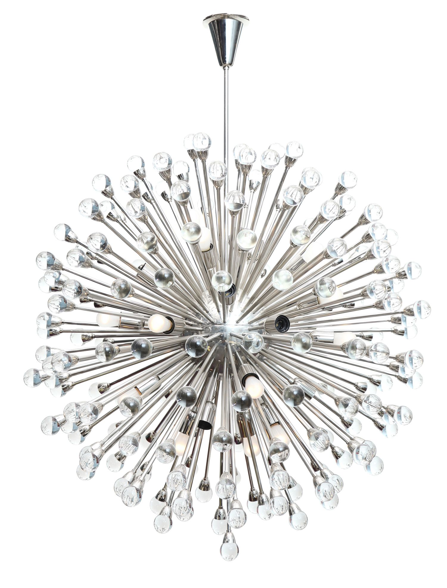 Large Scale Nickel Dandelion Chandelier Chandelier Antiques
