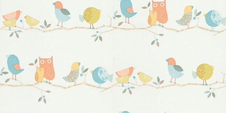 What A Hoot 70515 Harlequin Wallpapers Cute Cartoon Decorative Birds And Owls On A Horizontal Branch D Harlequin Wallpaper Fun Nursery Feature Wallpaper