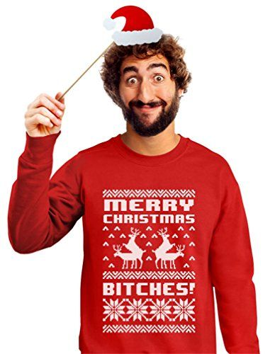 Merry Christmas Bitches Ugly Sweater Humping Reindeer Funny Sweatshirt