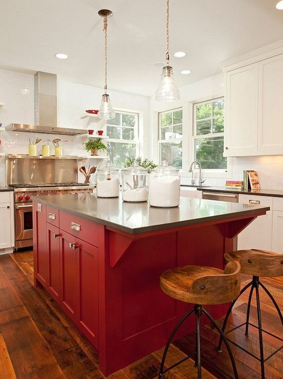 Red Painted Kitchen Island With All White Kitchen Cabinets Kitchen