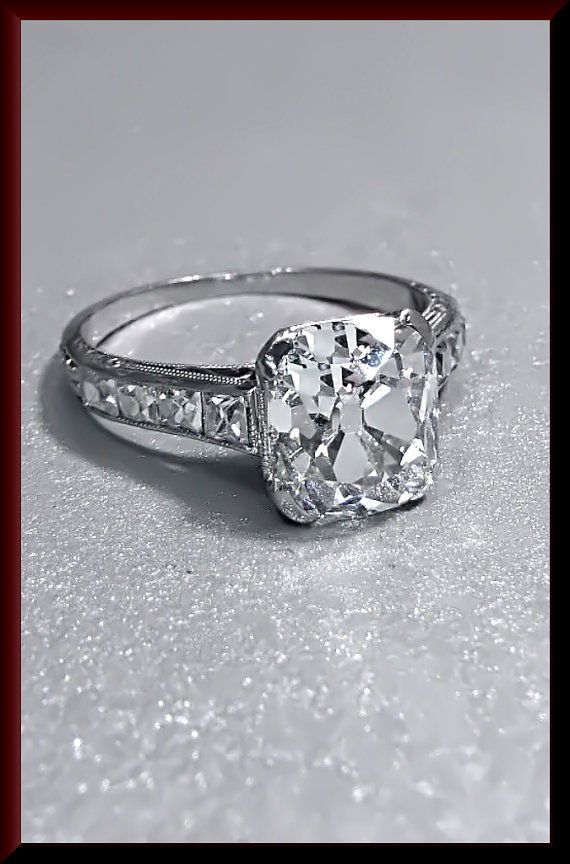 Reserved for Abe!!!! Antique Vintage Art Deco Platinum Cushion Cut Diamond Engagement Ring We... Reserved for Abe!!!! Antique Vintage Art Deco Platinum Cushion Cut Diamond Engagement Ring Wedding Ring - ER 372S,