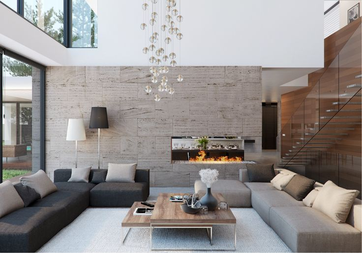Modern living space with low couches, large open room Ambientación