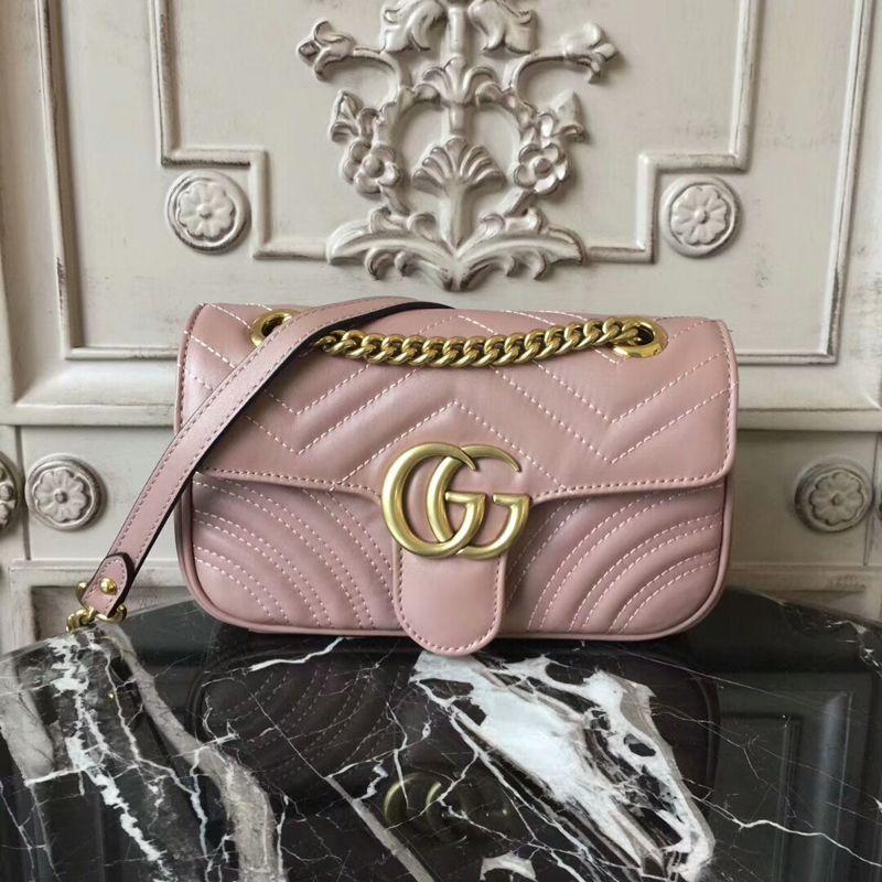 e7eb8dd01e6 Gucci GG Marmont Matelasse Mini Bag 446744 22CM Nude