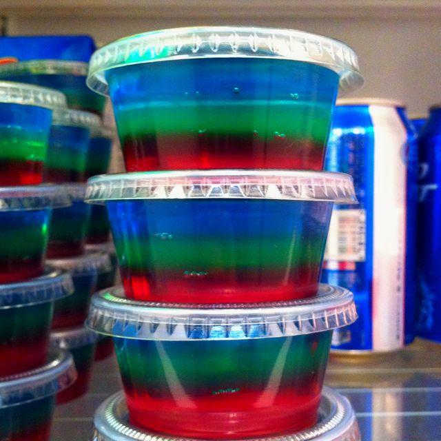 Three-layer jello shots. Definitely making these more!