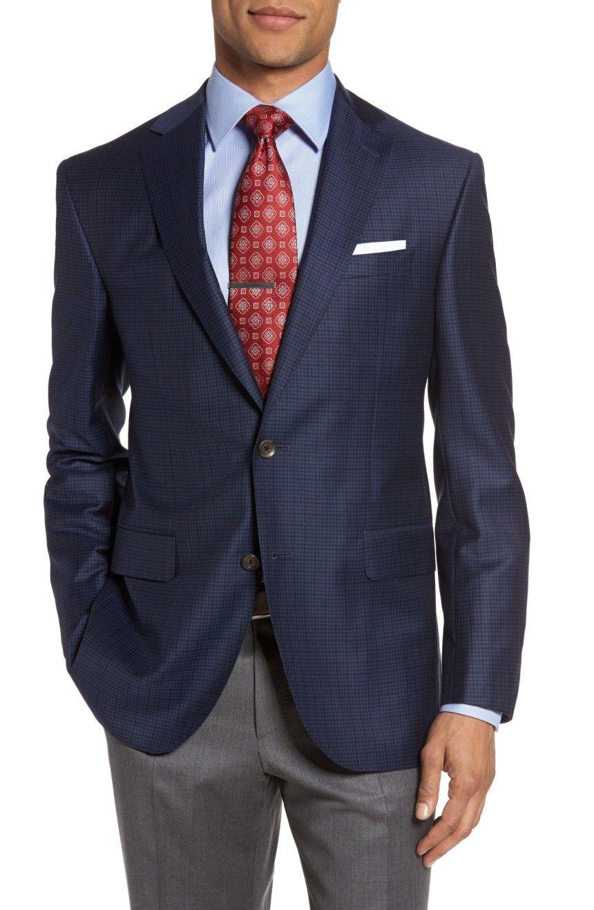 David Donahue Carey Classic Fit Check Wool Sport Coat