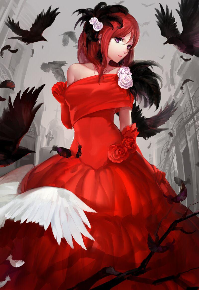 Anime Girl In Red Dress : anime, dress