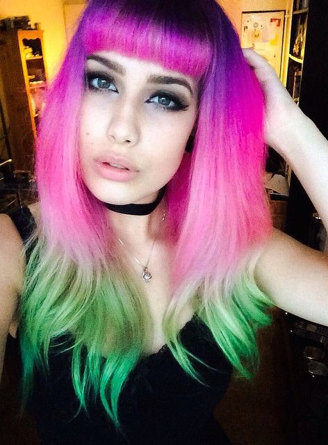 Pink And Green Hair