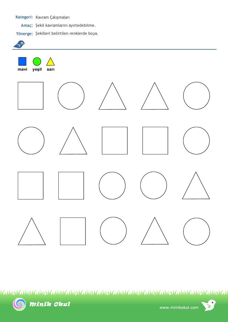 Sayfa Calismalari Sayfa 3 Minik Okul Okul Okul Oncesi Geometri
