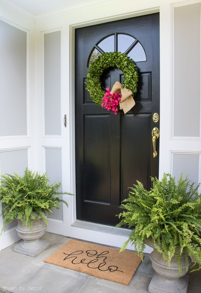 Front porch / entryway with boxwood wreath Boston ferns and super cute doormat! & Shades of Summer Home Tour: Decorating with Summer Whites u0026 Pops of ...