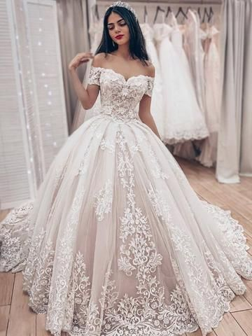 Gorgeous Off The Shoulder Lace Applique Ball Gown Train Long Wedding D – sweetbridals    Source by lanikaibermudez #Applique #Ball #dresses #Gorgeous #gown #Lace #Long #shoulder #special dresses fashion #train #WD1101 #Wedding #gorgeousgowns