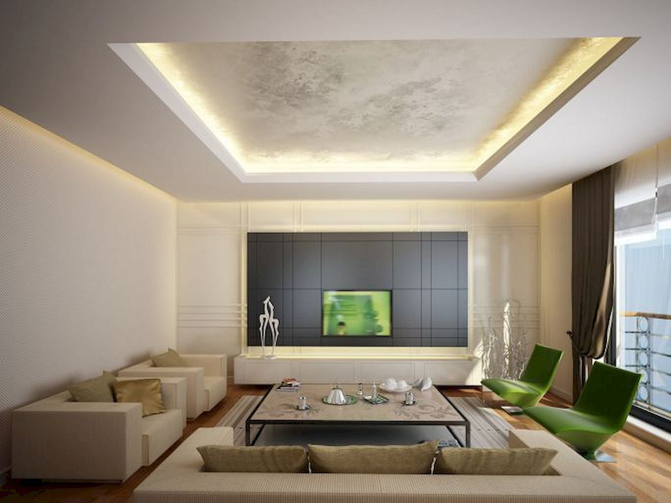 20 Amazing Living Room Decoration With Modern Ceiling Idea