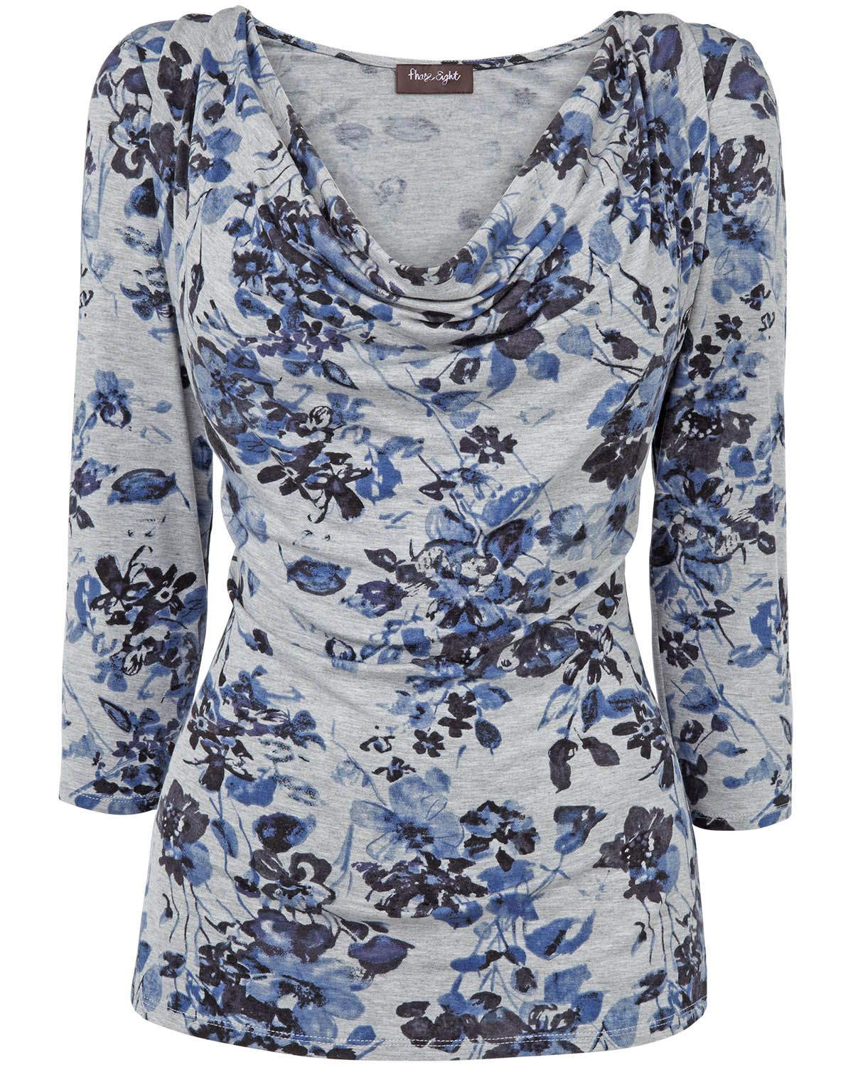 Sale Tops | Grey Cassandra Floral Jersey Top | Phase Eight