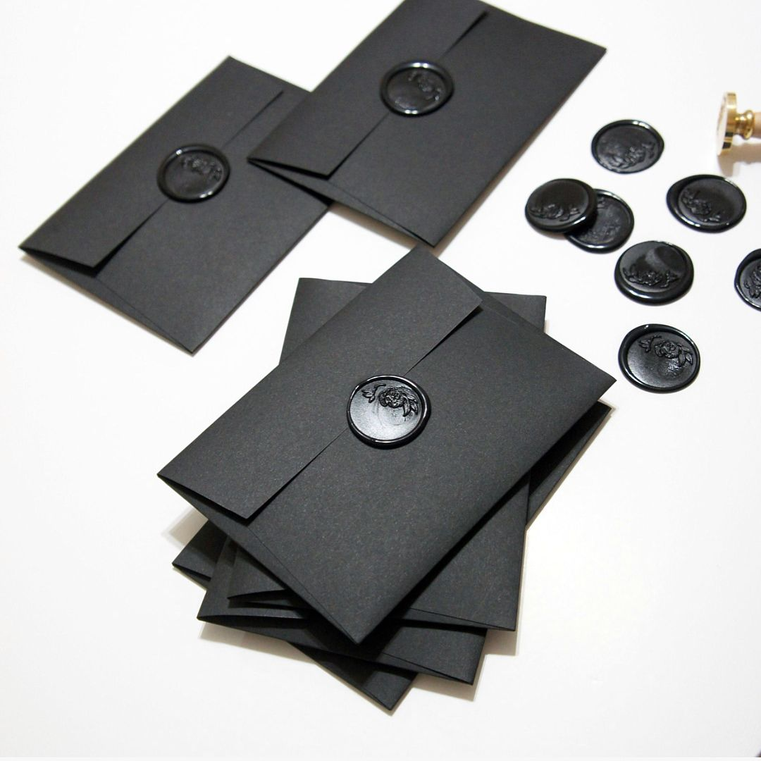 Black On Black Large Botanical Black Wax Seals On Luxe Black Envelopes Black Wedding Invitations Black Envelopes Navy Wedding Invitations